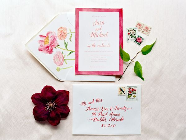 Elegant Dark Pink Wedding Invitations | photography by http://www.sarahasstedt.com/