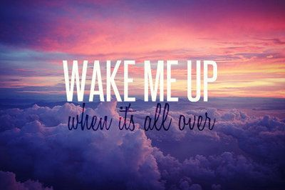 Wake me up when it's all over. I'm ready to see better days <3