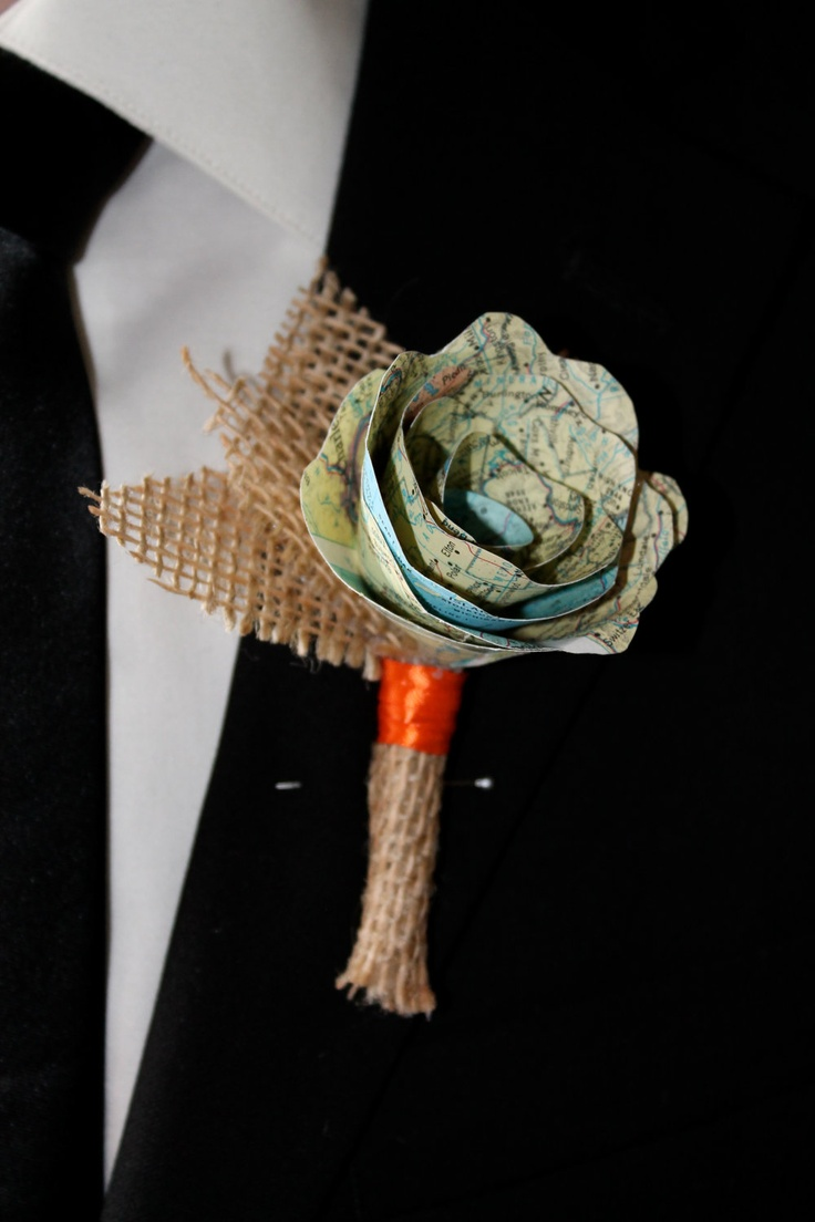 Map rose and burlap boutonniere. $20.00, via Etsy. We could totally make this rather than pay $20 to have one made. I think Bob would be perfectly happy with no plants on his suit but I still haven't given up on the idea of using a succulent too.