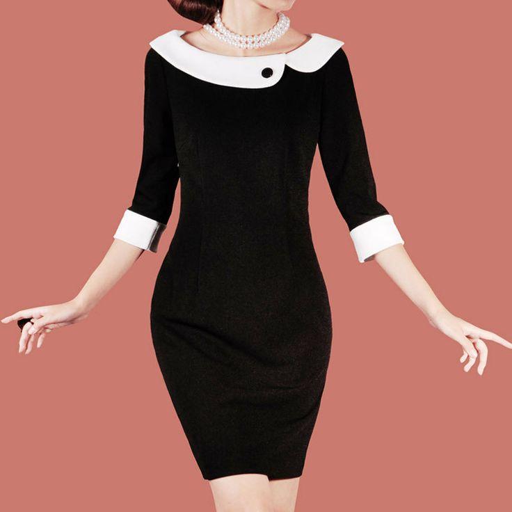 Free Shipping 2012 Black Autumn Office Lady Dress slim elegant vintage elegant three quarter sleeve dress plus size-inDresses from Apparel &...