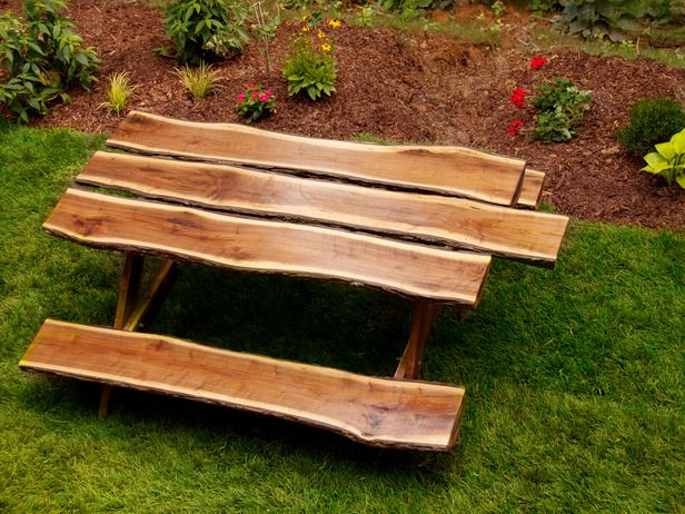 How to Build a Rustic Log Picnic Table : How-To : DIY Network | Cabin ...