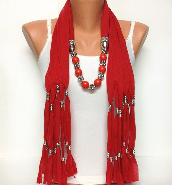 red solid color soft jewelry scarf with beads