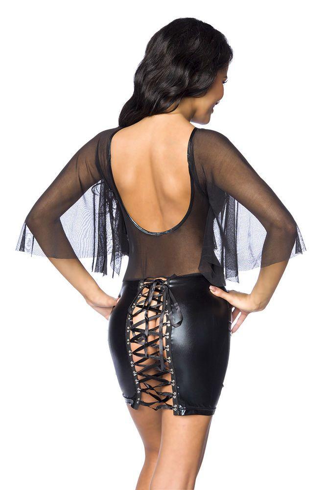 Wetlook-Kleid mit Netz aus der myerotismo collection schwarz