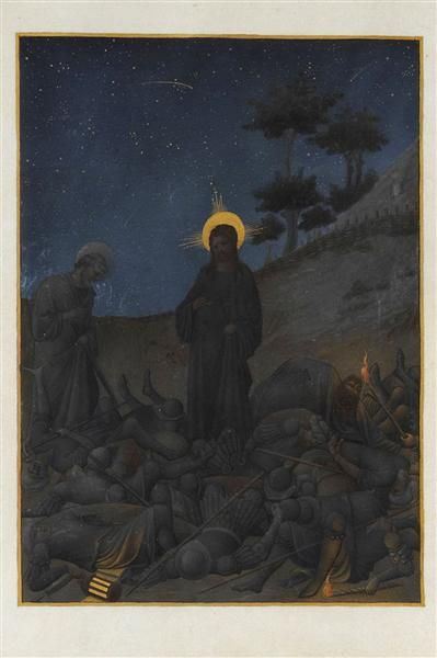 Christ in Gethsemane by Limbourg brothers. International Gothic. illustration