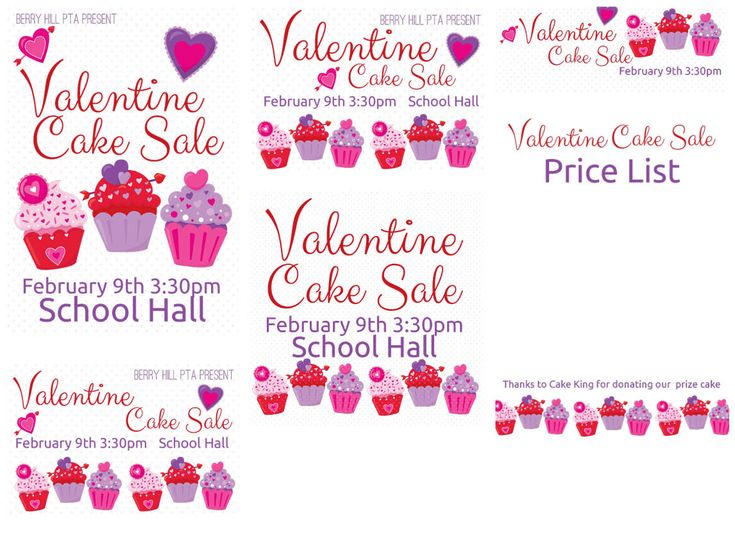 OurValentine Cake Sale kit includes sample files for your reference andblank versions so that you can customise your PTA or PTFA event posters, leaflets, brochures and programs.  The kit includes:  A4 poster A4 poster with white background A5 leaflet A5 program Web 250x250 Web 600x400 Fa...