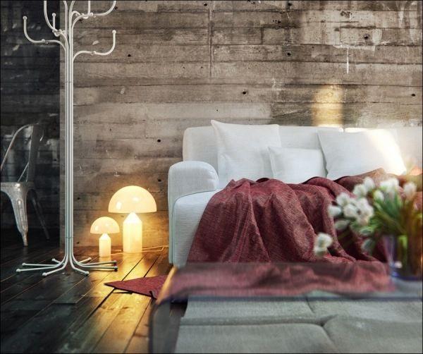 Wohnzimmer Holzverkleidung weißes Sofa Stehlampen