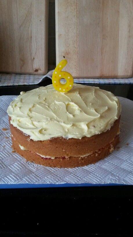 Annabel's 6th birthday cake. Lemon sponge with lemon buttercream icing and blackberry jam.