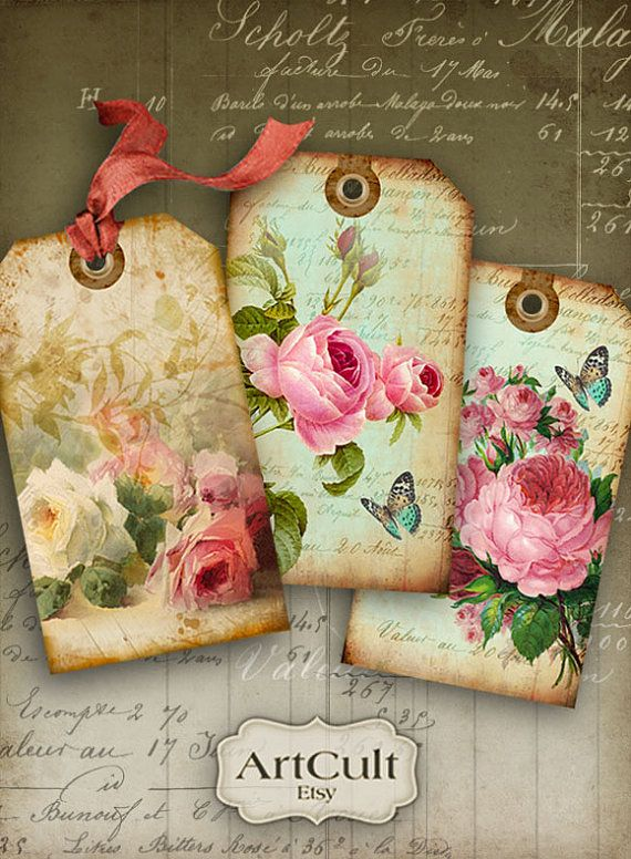 SHABBY CHIC GIFT Tags No1 - Digital Collage Sheet Printable Download Images Vintage Paper Scrapbook Jewelry Holders