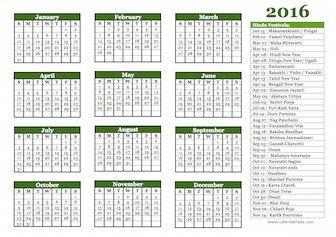 hindu calendar template