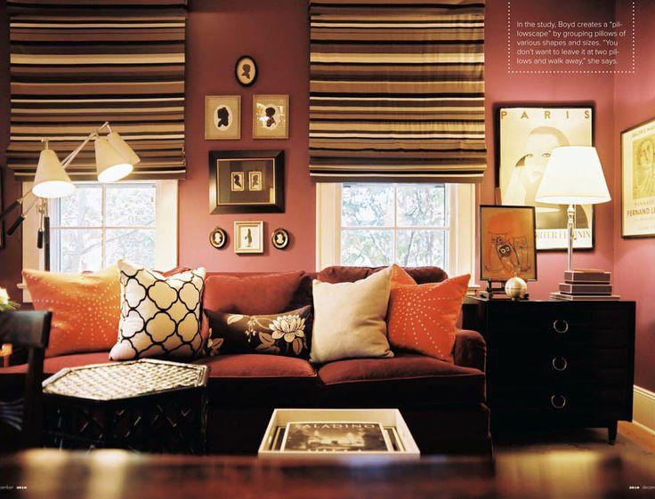 Suzie: Lonny Magazine   Eileen Kathryn Boyd   Pink Orange Mauve Cozy Living  Room Design With .