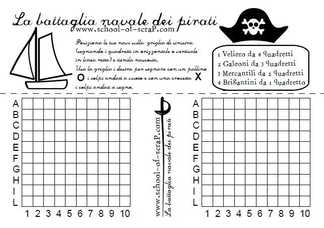 Giochi per bambini: la battaglia navale dei pirati da scaricare e stampare