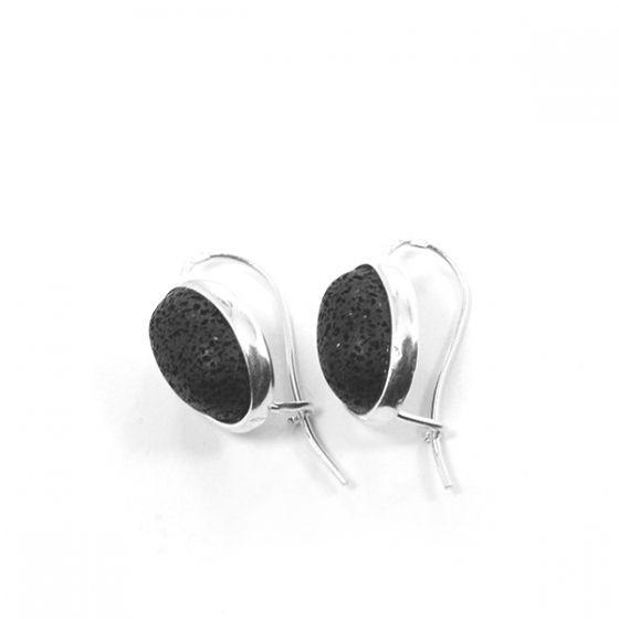 Ezüst fülbevaló lávakővel /75845/