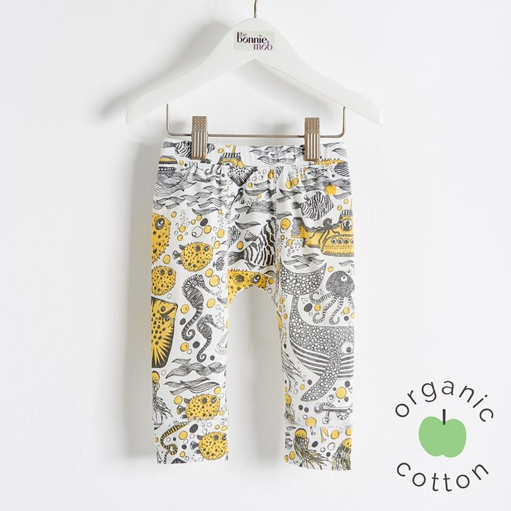 """The Bonnie mob SS16 - The Life Aquatic. SAILOR Organic Cotton Yellow Underwater Kids and Baby Unisex Leggings. Legging made from 100% organic cotton jersey and printed with our all over """"underwater adventure sketch print' or 'all over 'bubbles print."""