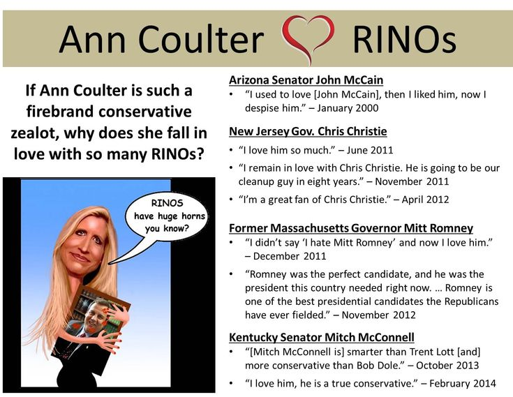Ann Coulter is again attacking the Tea Party. Coulter wouldn't know a RINO if she looked in the mirror @Gail Regan Truax://tinyurl.com/pfdek7z. If Ann Coulter is such a firebrand conservative zealot, why does she fall in love with so many RINOs? See the book, Never Trust Ann Coulter - at ANY Age, at www.coulterwatch.com/never.pdf.