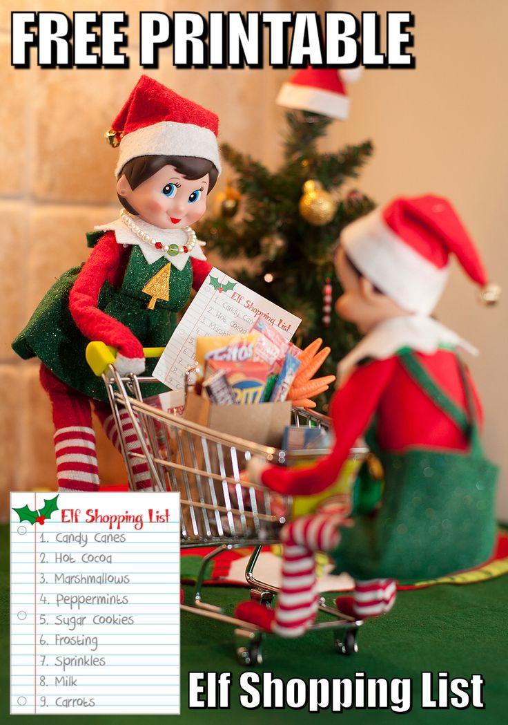 Free printable Elf Shopping List for your Elf on the Shelf.