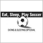 Soccer t-shirt: Eat Sleep Play Soccer - White Youth Large