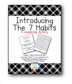 Students analyze different scenarios and categorize them into different habits. To use as review after introduction the first weeks of school.