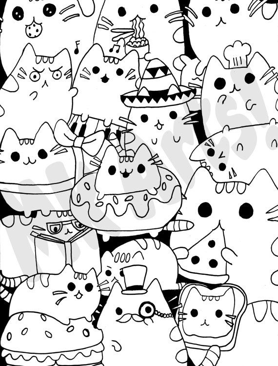 Pusheen Cats Printable Coloring Page By MoriahKesingerArts On Etsy