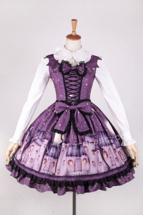 Ghost House Hallowmas Purple Lolita Jumper Dress