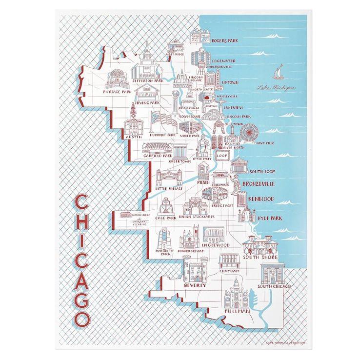 Chicago Neighborhood Landmarks Poster in 2020 Chicago