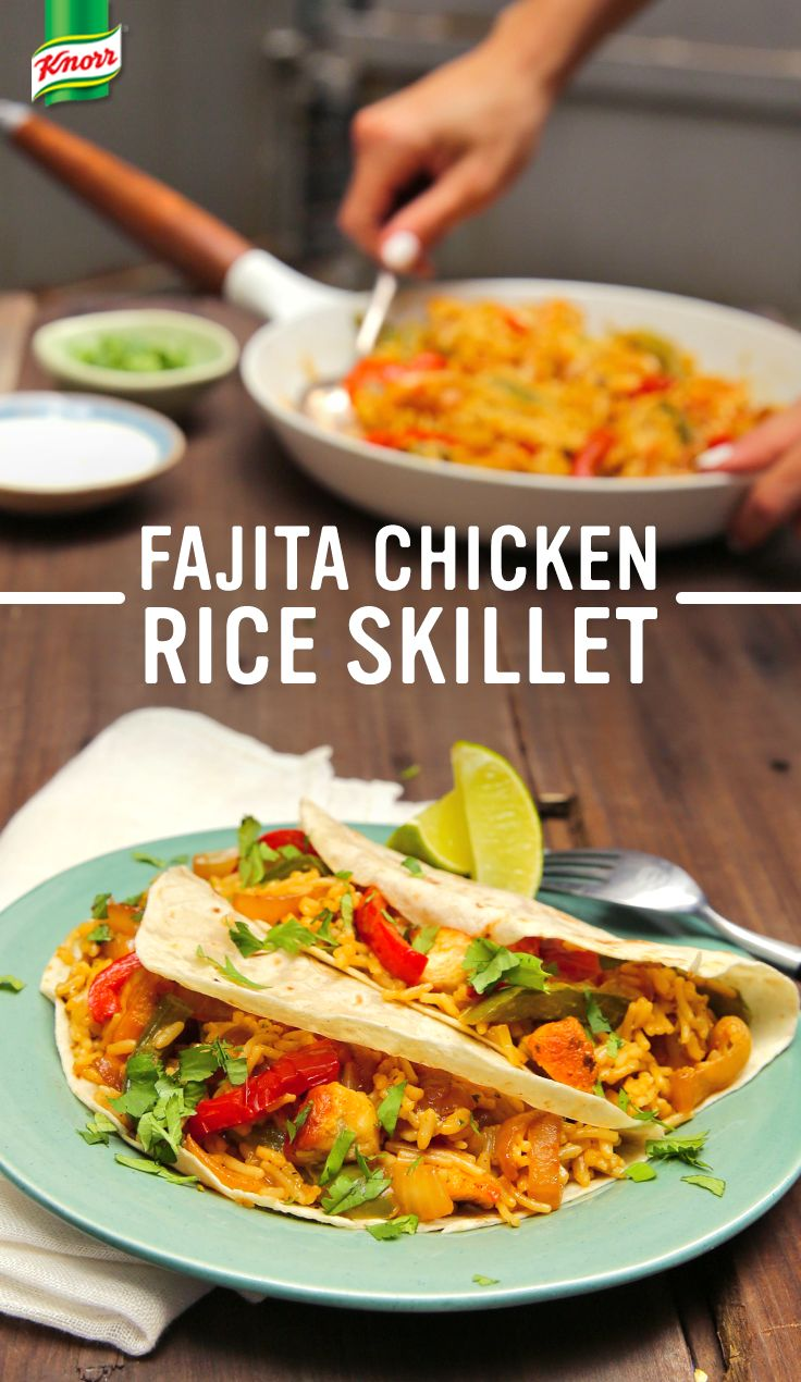 The best recipe for Fajita Chicken & Rice Skillet is easy, delicious, and sure to please your whole family. 1. Melt spread in a nonstick skillet and cook chicken. Cook red & green peppers, onion, and chili powder until vegetables are crisp-tender. 2. Add water and Knorr® Rice Sides™ - Cheddar Broccoli, boil, then simmer until rice is tender. 3. Serve, if desired, with warmed flour tortillas, lime wedges, sour cream, and finely chopped fresh cilantro. Enjoy!