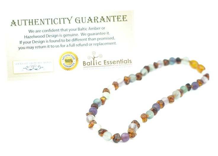 "Baltic Amber Necklace Rainbow Cognac Mixed with Pink Rose Quartz Purple Green Flourite Adult 17"" or 19"""