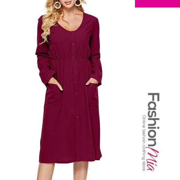 5a5813ff56  fall  fashion  trends  styles  AdoreWe  FashionMia -  FashionMia V-Neck  Patch Pocket Decorative Button Plain Skater Dress - AdoreWe.com