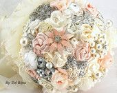 Brooch Bouquet Pearl Bouquet Bridal Bouquet in Blush, Cream and Ivory with Pearls, Fabric Flowers, Lace and Brooches