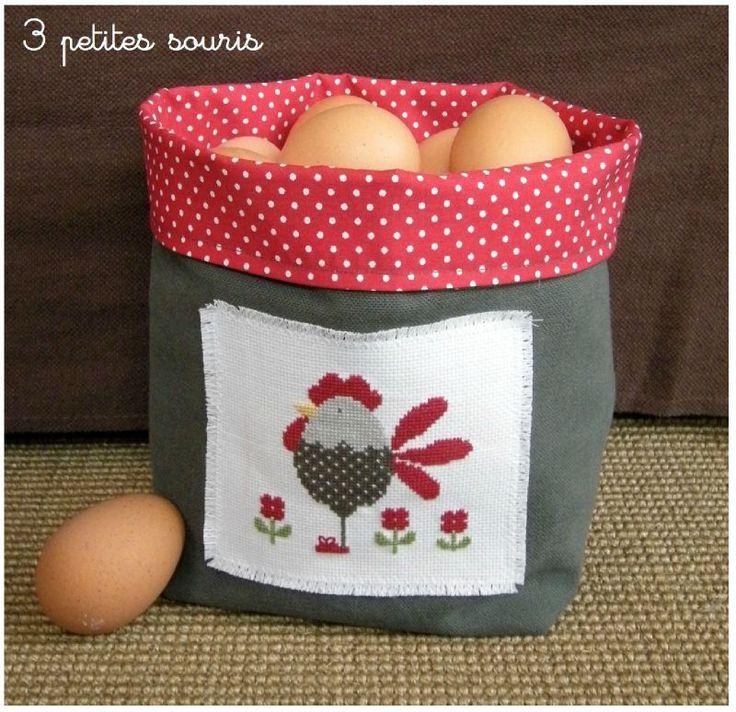 Cesta tela de huevos
