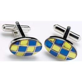 Blue and Gold Check Ovals Cufflinks