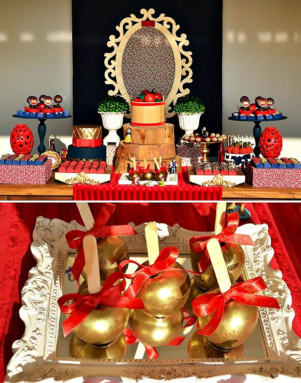 Red & Gold Snow White Themed Dessert Table