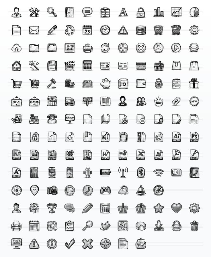 Hand Drawn Sketch Icon Set