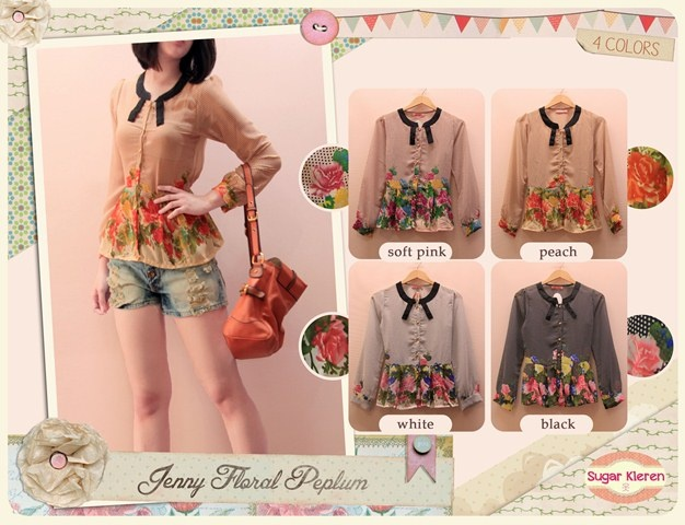 JENNY FLORAL PEPLUM  IDR 95.000  Material : Sifon