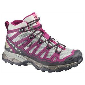 The Salomon Women's X Ultra Mid GTX Hiking Boot is a stable, protective, light weight trail manager. With a mid-height design, this boot will perform well on trails with or without a pack on your back. GORE-TEX® weather protection and an aggressive grip keep your feet bone dry and connected firmly to wet terrain. #salomon #hiking #shoe #boots