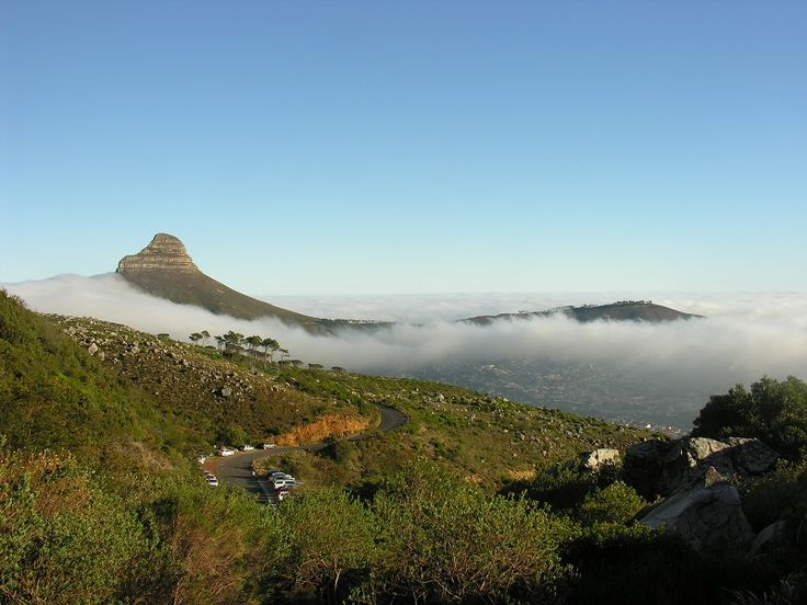 View of Lion's Head from Platteklip Gorge hiking trail of Table Mountain
