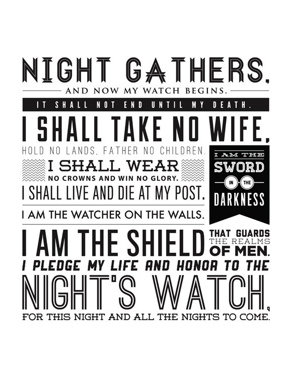 """Night's Watch Oath - Game of Thrones - inspired print 11X17"""". $20.00, via Etsy."""