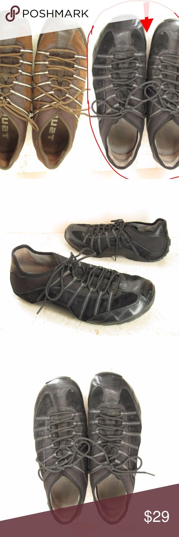 """Tsubo Athletic Shoes Black Leather Sneakers Men 12 Tsubo athletic shoes for men, size 12 M. Available in your choice of BLACK on this listing or Brown.   These awesome sneakers have leather and textile uppers and non slip rubber soles, making them perfect for running, hiking or power walking as well as comfortable everyday wear.   The insole measures about: 11 1/8"""" from the toe to the heel 3 1/2"""" across the foot ball 3/4"""" heel height  pe or pria 171111-214-Mns Blk 2, Brn 2 Tsubo Shoes…"""
