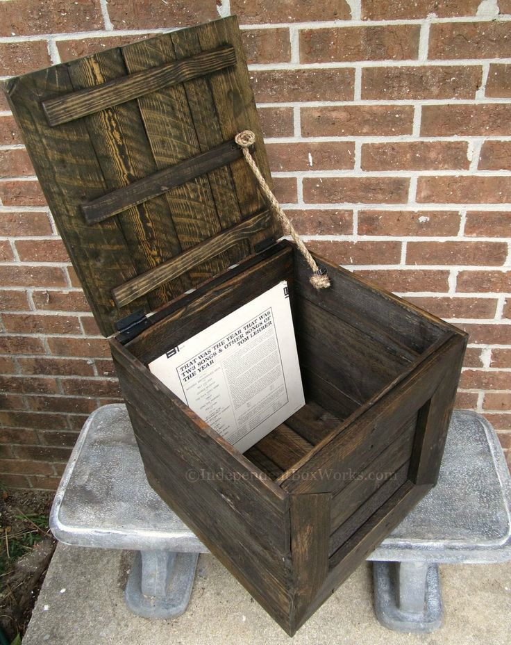 Reclaimed Wood Crate with Hinged Lid - Rustic Handmade Wooden Cube Box - 12 Inch Vinyl Record Storage Crate - Country Farmhouse Crate by IndependentBoxWorks on Etsy https://www.etsy.com/listing/246486689/reclaimed-wood-crate-with-hinged-lid