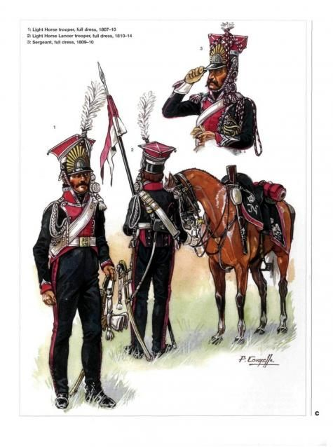 polish lancers 1-light horse trooper 1807-1810 2-light horse lancer full dress 1810-14 3-Sergeant full dress 1809-1810