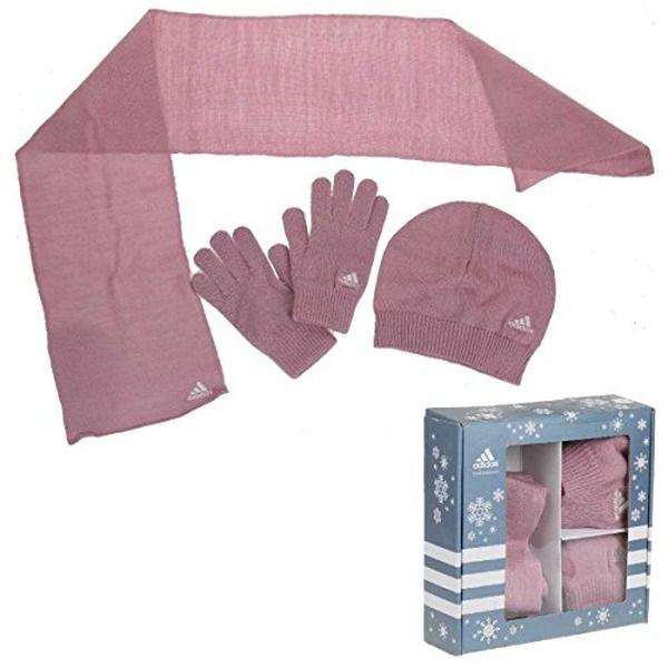 Adidas Gift Geschenk Set 3pc Handschuhe Mütze Schal Damen und Kinder , Bekleidungsgröße:L