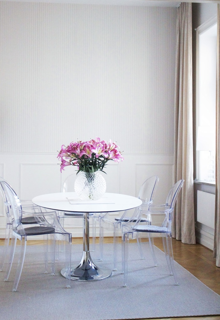 Table from Svenskt Tenn. Love the white wainscoting and the simple lines n the furniture
