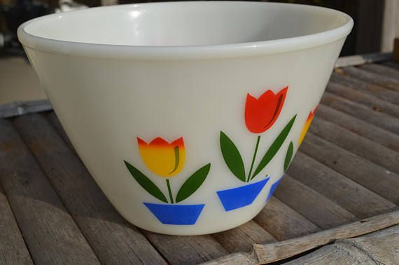 Fire King Tulip Bowl large mid century home mixing bowl