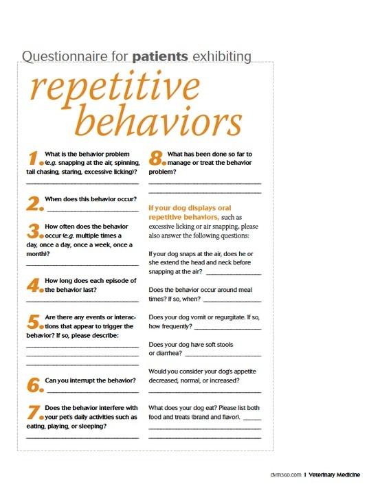 Questionnaire for patients exhibiting repetitive behaviors: Veterinary client handout - dvm360