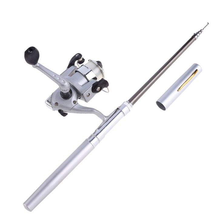 Mini Aluminum Alloy Pocket Pen Fishing Rod Pole Reel + Line Silver Portable SS #Affiliate