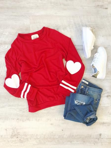 Heart Patch Pullover - Red