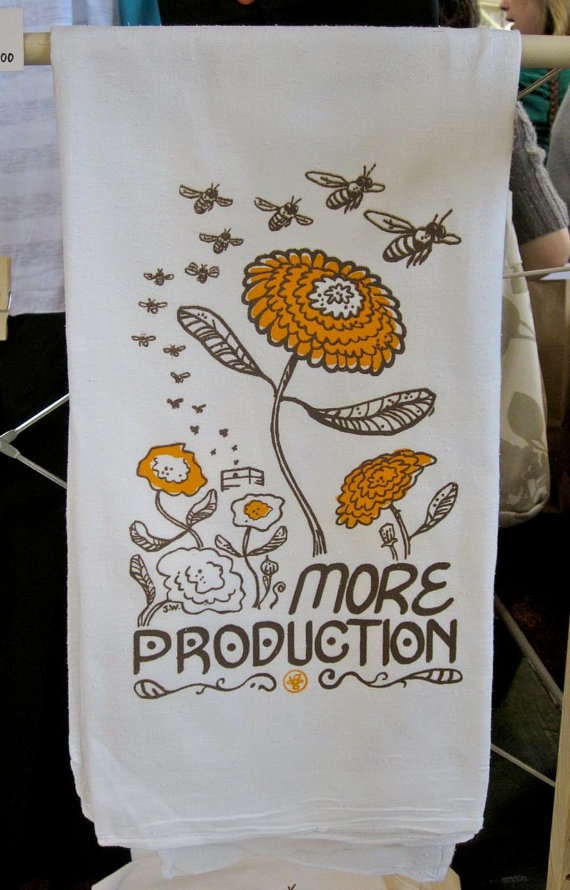 Honey Bees Screenprinted Floursack Towel