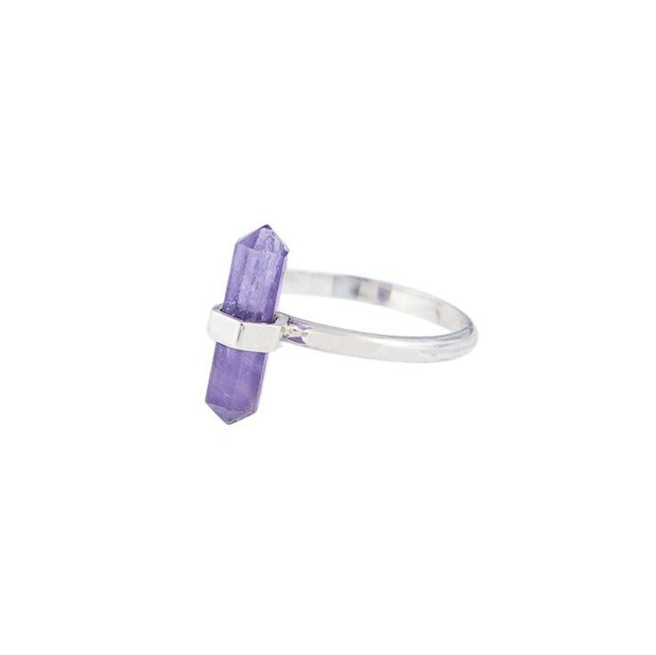 The Flow ring in sterling silver - $59. Thin banded ring crafted in 925 sterling silver, with small statement hand cut amethyst crystal point detail. Etched Krystle Knight logo on the inside of the ring. Lovingly designed in Sydney by Australian designer jewellery label Krystle Knight. www.savethelastpinker.com.au/shop/flow-ring-silver/