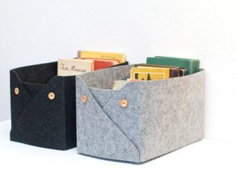 Fabric bin Large toy storage bin with leather by SKANDINAVIOUS