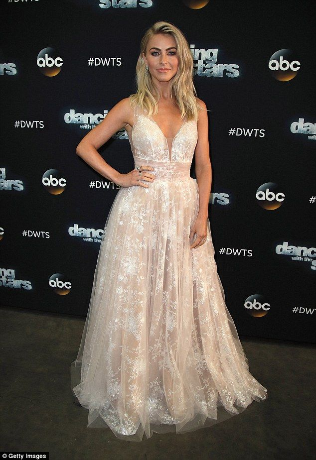 Stunning: Julianne Hough looked gorgeous in an elegant floor-length gown at the season premiere of Dancing With The Stars