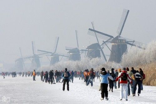ice skating by windmills. Netherlands, of course.